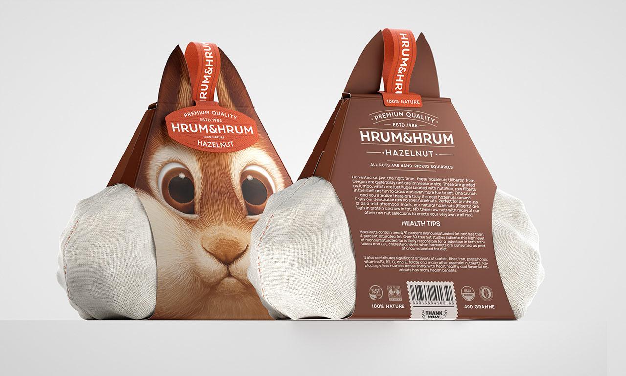 Упаковка для орешков в виде головы белки